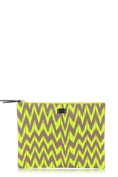 Kylie Nylon Pouch - Neon Yellow Print