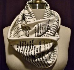 Book scarf. Have any page from your favorite book or poem printed on a scarf here. Omg I want!