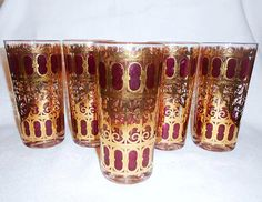 5 Vintage  Culver  Red and Gold Highball Cocktail Glasses  Hollywood Regency Mad Men Style