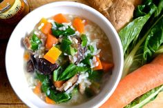 Vegetable and Ginger Congee for #SundaySupper from eatingininstead.com