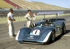 Ford McLaren Can Am car. Mario Andretti is about to take it for a spin.