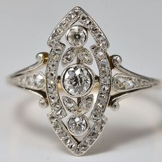 C.1890. Antique Victorian diamond marquise shaped engagement ring/ anniversary ring
