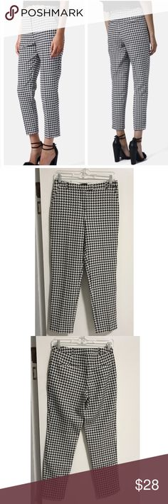 Topshop Croppped Houndstooth Pant Adorable Topshop black and white houndstooth pant. Cropped to hit the ankle, low-rise fit, hook closure at the waist. Size 4 US. Slim fit. Light weight. Tone them down for work with a blouse, blazer, and pumps, or take them out on the town with a crop top and funky shoes. Topshop Pants Ankle & Cropped