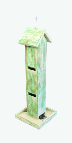 Combination slot tube/platform bird feeder in weathered green plank (4″ x 24″), Chirpwood $99.99, chirpwood.com | VIE Magazine: Home & Garden Issue September/October 2015 | C'est La VIE: Curated Collection | Let's Do Lunch