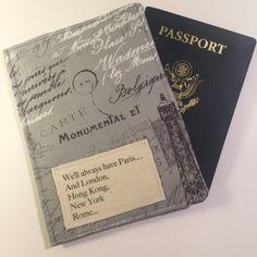 "Passport Cover, ""We'll Always Have Paris"", Romantic Travel Passport Case Passport Cozy, Travel Accessory by destinationhandmade on Etsy"