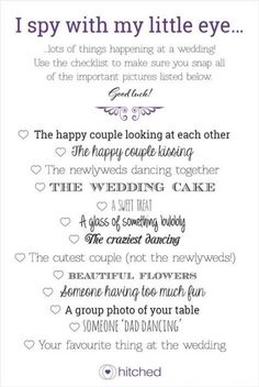 65 Ideas Wedding Reception Games Entertainment I Spy
