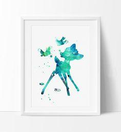 Bambi Nusery Wall Art, Bambi Art Disney Watercolor Print, Nursery Disney, Disney Art, Disney Poster, Bambi Print, Nusery Decor(123)