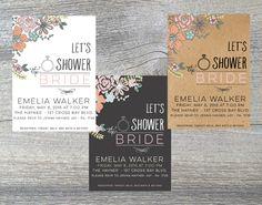 Printable bridal shower invitation  by JuneArborDesigns  www.etsy.com/shop/junearbordesigns #wedding #floral #chalkboard #kraft #bridalshower #weddingshower #shower #bride  #DIYinvite #printableinvitation #weddingprintable