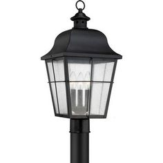 Buy the Quoizel Mystic Black Direct. Shop for the Quoizel Mystic Black Millhouse 3 Light Tall Outdoor Single Head Post Light with Seeded Glass Panels and save. Outdoor Post Lights, Outdoor Hanging Lanterns, Outdoor Wall Lantern, Outdoor Lighting, Exterior Lighting, Pathway Lighting, Luxury Lighting, Lighting Ideas, Outdoor Decor