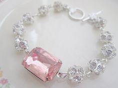 Bridal Jewelry Vintage Rhinestone Bracelet Rosaline Pink Wedding Jewelry Pale Pink Glass Silver Bracelet. $29.00, via Etsy.