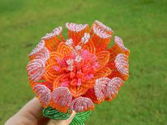 Orange and Pink French Beaded Flower by BeadedFleur on Etsy