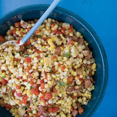 Warm Grilled Corn with Pancetta and Red Pepper   This side dish has a great porky flavor from the pancetta, which gets simmered in water before frying to make it extra crisp.
