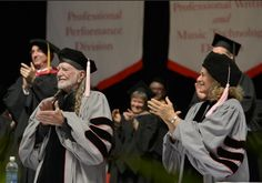 Willie Nelson and Carole King receive honorary doctor of music degrees during the 2013 Berklee College Of Music Commencement at Berklee College of Music on May 11 in Boston.