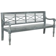 Safavieh Outdoor Living Karoo Ash Grey Acacia Wood Bench (PAT6704A), Patio  Furniture
