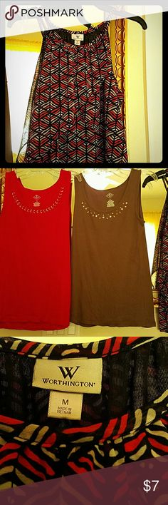 Summer tops Two cotton and one polyester flowing top. Used rarely. In like new condition. Sold at one price for all three. St John's Bay-Worthington Tops Tank Tops
