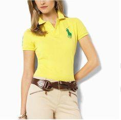 cheap polo ralph lauren shirts Women\u0026#39;s Classic Big Pony Short Sleeve Polo Shirt Green Yellow http