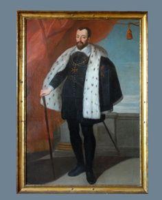 Portrait en pied de François Ier de Médicis en tenue d'apparat, portant l'étole d'hermine et le grand collier de l'ordre de Malte.  Huile sur toile.  Atelier de Rubens fin XVIIème.  180 x 120 cm.