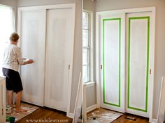 Awesome Closet Sliding Doors Nursery Paint Faux Molding On Sliding Closet Doors Diy Wardrobe Sliding Doors, Wardrobe Furniture, Home Furniture, Furniture Ideas, Painted Doors, Wood Doors, Closet Door Makeover, Beautiful Closets, Nursery Paintings