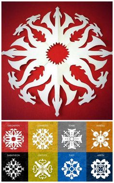 DIY 8 Game of Thrones Snowflake Patterns from Krystal Higgins here. For 56 Star Wars snowflake templates and other DIY snowflakes (ballerinas, zombies, Tardis etc…) go here: truebluemeandyou.tumblr.com/tagged/snowflakes