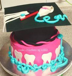 Dental hygiene cake Dental Hygiene Student, Dental Hygienist, Dental Assistant, Dental Cake, Dental Lab Technician, Tooth Cake, Dental Office Decor, Graduation Cake, Grad Parties