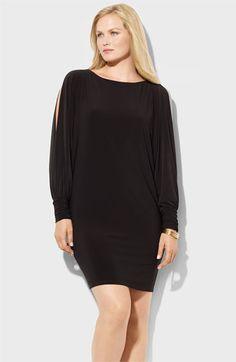 Black Plus Size Cold Shoulder Ruffles Sleeve Solid Shift Dress ...