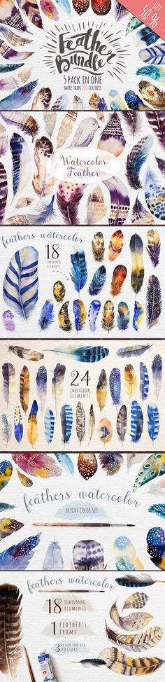 Watercolor feathers bundle Available for sale here:https://creativemarket.com/Kris_peace/582779-Watercolor-feathers-Bundle?u=Kris_peace The Watercolor feathers Bundle includes 5 of my best seller products:https://creativemarket.com/Kris_peace/333218-…