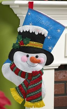 Bucilla Christmas Stocking Felt Applique Kit 86649 Jack Frost for sale online Christmas Stocking Kits, Felt Christmas Stockings, Felt Stocking, Christmas Sewing, Christmas Holidays, Christmas Projects, Felt Crafts, Holiday Crafts, Holiday Decor