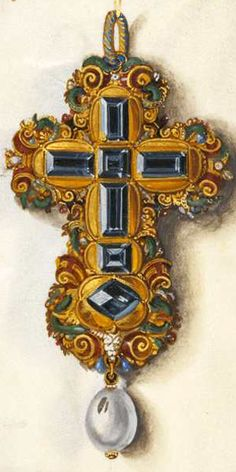 Oil on canvas by Hans Mielich depicting one of the jewels in the possession of Duchess Anna von Bayern. Renaissance Jewelry, Ancient Jewelry, Antique Jewelry, Vintage Jewelry, Jewelry Art, Jewelry Design, Jewellery Sketches, Jewelry Sketch, Sign Of The Cross