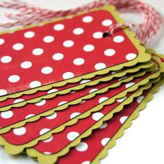 Christmas Gift Tags . Peppermint Red Dots on Chartreuse (large) Double Layer Rectangle Scallop Holiday Tags or Package Labels (Qty. 6). $4.50, via Etsy.