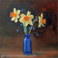 Spring Bouquet by Jan Stommes, Oil, 12 x 12 Spring Bouquet, Bouquets, Artist, Artwork, Flowers, Painting, Oil, Work Of Art, Bouquet