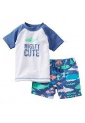 Carter's swimwear at Kohl's - Shop our full selection of boys' swimwear, including this baby Carter's Mighty Cute Shark Rash Guard & Swim Trunks Set, at Kohl's. Baby Outfits, Toddler Outfits, Kids Outfits, Baby Swimwear, Baby Swimsuit, Baby Set, Carters Baby Boys, Toddler Boys, Cute Shark