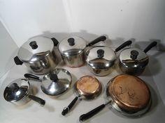 VINTAGE Revere Ware 14 pc Set SS Copper Clad Cookware Pots Pans Skillet USA MADE #RevereWare