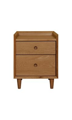 Heal's | Heal's Mansfield 2 Drawer Bedside Table Oak by John Jenkins - Bedside Cabinets - Bedroom Furniture - Furniture