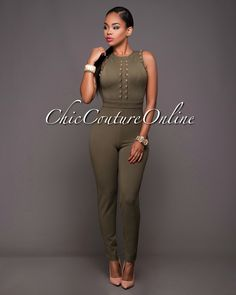 Chic Couture Online - Meliah Olive Green Gold Decor Jumpsuit.(http://www.chiccoutureonline.com/meliah-olive-green-gold-decor-jumpsuit/)