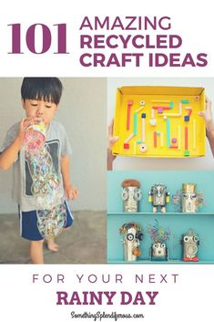 101 Recycled crafts for your next rainy day! Recycled Crafts Kids, Recycled Art Projects, Craft Projects For Kids, Easy Diy Crafts, Diy Crafts For Kids, Arts And Crafts, Recycle Crafts, Craft Ideas, Craft Blogs