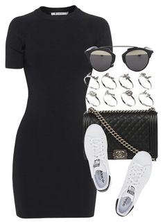 Casual fitted mini dress, sneakers, Chanel bag