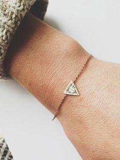 delicate triangle bracelet.
