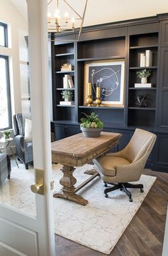 With many months of anticipation, The Black Goose Design is thrilled to bring you an exclusive look inside The Parade of Homes, Banbury Park Manor! The Black Goose Design and Bradshaw Homes and Property have partnered together to bring you this. Home Office Space, Home Office Design, Home Office Decor, House Design, Home Decor, Masculine Office Decor, Office Rug, Office Inspo, Black Office Desk