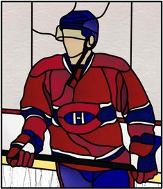 joueur de hockey du canadien hosted by ZimageZ Montreal Canadiens, Stained Glass Projects, Stained Glass Patterns, Mosaic Glass, Glass Art, Hockey Room, Painted Rocks Kids, Sports Art, Hockey Players