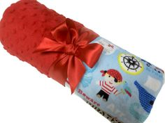 Pirate Minky Baby Blanket with Dimple Dot Minky Back by babyboos