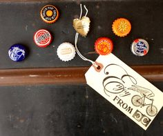 Upcycled  Bottle Cap Magnetic  Magnets  Funky by CountryfiedChic, $19.95