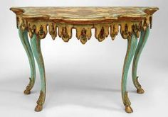 Pair of Italian Venetian (late 18th / early 19th Cent) green and decorated painted & parcel gilt console tables with lacca povera detail having a scalloped apron & serpentine top