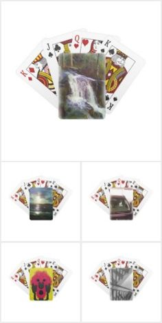 A collection of different playing card in different style, some photo and some abstract pattern. Abstract Pattern, Different Styles, Playing Cards, Playing Card Games, Game Cards, Playing Card