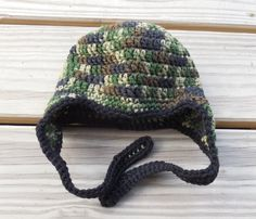 Crochet Baby Hat Baby 3 9 months Camouflage Baby by GabbysQuilts