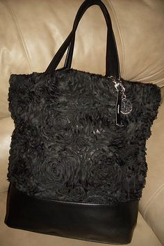 New DKNY Donna Karan Black Lambskin Leather Corsage Lace Floral Tote Bag Purse | eBay