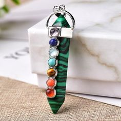 7 Chakra Healing Crystal Sword Point Pendant With Aventurine Stone Mother/'s Day Gift By MarkaJewelry Crystal Pendant For Men /& Women Gift