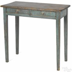 Painted pine work table, 19th c., retaining an old blue surface, 29 1/2'' h., 31 1/2'' w., 16'' d. Provenance: The Estate of Mark and Joan Eaby, Brownstown, Lancaster County, Pennsylvania.