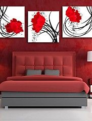 Personalized E-HOME® Canvas Print Red Flowers 30x30cm 40x40cm 60x60cm Framed Canvas Painting Set of 3