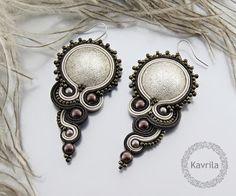 K Avril - Jewellery author. soutache Energy Brown Soutache. earring length 7.5cm