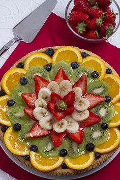Fruit Pizza Recipe - The BEST Summer dessert thats topped with fresh fruit and has a soft sugar cookie crust. Super simple to make and always a hit. Youll absolutely love this easy fruit pizza! Best Summer Desserts, Easy Desserts, Dessert Recipes, Fruit Buffet, Fruit Dishes, Fresh Fruit Cake, Fruit Tart, Soft Sugar Cookies, Sugar Cookies Recipe